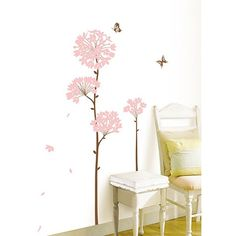 Art.Com White Long Stem Pink Flower Butterfly Petals Wall Decal ($29) ❤ liked on Polyvore featuring home, home decor, wall art, white, pink flower wall decals, white butterfly wall decals, white wall art, white flower wall stickers and white flower painting