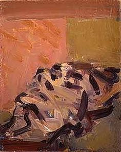 Frank Auerbach - Reclining Head Of Julia, 1995, acrylic on board.