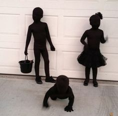 Shadow costumes - black morph suits, black clothes and black accessories