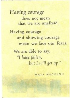 Showing courage...