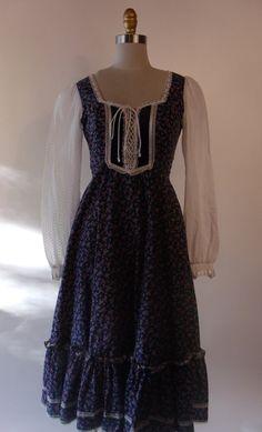 f9c01c65200 Vintage 70 s Gunne Sax Calico Prairie Dress Navy Blue Country Day Dress.  Gypsy. Size XS