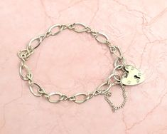 Vintage sterling silver padlock bracelet with safety chain and infinity / figure of 8 links, 9 grams, British sterling, 1976 by CardCurios on Etsy Letter B, Link Bracelets, Sterling Silver Bracelets, Infinity, Initials, Safety, British, Fancy, Chain