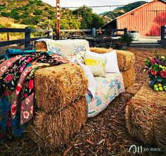 hay bales and blankets for fall minis