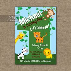 Zebra Safari 3rd Birthday Invitation Spilling Beans Designs
