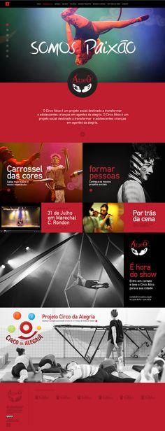 Estudo de design responsivo, layout e programação do site do projeto social Circo Ático. www.circoatico.org.br