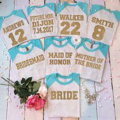 3 Bachelorette party BASEBALL shirt. Bridesmaids baseball tees. Bridesmaid shirts with number on back. Bridal party baseball t-shirts. by BrideAndEntourage on Etsy https://www.etsy.com/listing/206810878/3-bachelorette-party-baseball-shirt