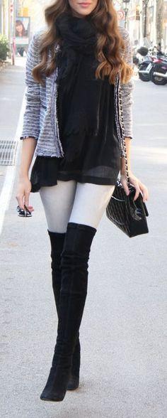 #street #style / knee length boots + cardigan