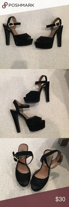 Black suede heeled gold buckle sandals Steve Madden Black suede heeled gold buckle sandals size 6. Normal wear and tear throughout. Steve Madden Shoes Heels