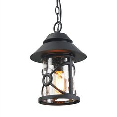 1-Light Outdoor Lighting Fixtures Farmhouse Style in Hand-Polished Black with Clear Glass