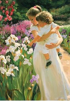 ⊰ Posing with Posies ⊱ paintings & illustrations of women & children with flowers - Vladimir Volegov