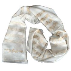 WHITE GOLD SILK SCARF MOZART A LITTLE NIGHT MUSIC silk screened by hand #Rosberg #Scarf