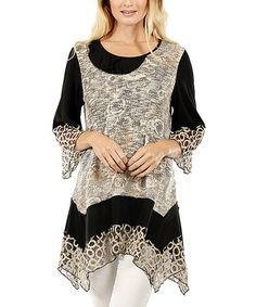 Look what I found on #zulily! Black & Beige Lace Asymmetrical-Hem Tunic #zulilyfinds
