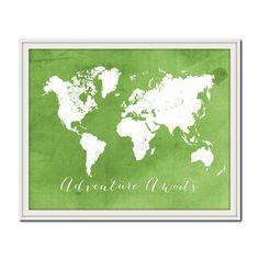 Green World Map Print, Adventure Awaits, Travel Print, Nature, Go Green, Nursery Travel Print, Colorful Map Poster, Spring Home Decor