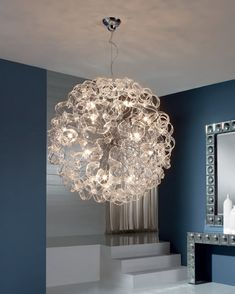 Ball Pendant Light with Curly Ribbons of Glass - Medium or Large Sizes Rustic Light Fixtures, Rustic Lighting, Modern Lighting, Large Pendant Lighting, Chandelier Lighting, Snug Room, Chandelier In Living Room, Ball Lights, Glass Ball