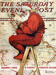 1939 ... Santa's Route- Norman Rockwell I miss the days when people said hello to strangers and we cared about others because we can.