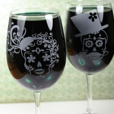 Sugar Skull Couple Set of Etched Wine Glasses by GlassBlastedArt, $36.00