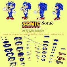 Sonic The Hedgehog Sega videogames free 3D perler beads hama beads pattern tutorial