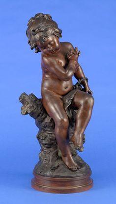 Moreau, Auguste Louis Mathurin 1834 Dijon - 1917 Malesherbes Amorette von einer Heuschrecke erschr — Skulpturen, Möbel, Kunsthandwerk
