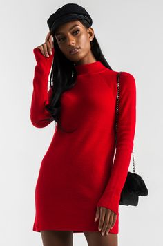 AKIRA Turtleneck Open Back Ribbed Knit Sweater Dress in Black, Red