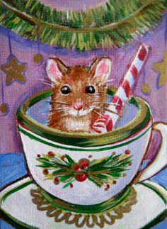 Christmas Mouse in teacup with candy cane aceo original art painting
