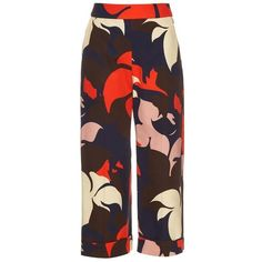 Delpozo Floral-print wide-leg cropped cotton trousers (25,305 PHP) ❤ liked on Polyvore featuring pants, capris, cropped trousers, wide leg cropped trousers, cropped pants, cotton pants and floral wide leg pants