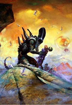 ARTHUR SUYDAM, ALIEN  print, Hug, blood, Aliens, Terror, Horror, 11 x17 , 2004 Comic Art.......... Great!