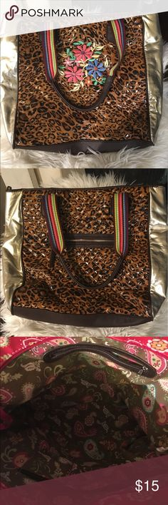 Consuela Inspired bag Leopard and gold faux leather, multi-colored fabric traps, embroidered flowers and rhinestones.  Multi pockets and zip pockets. SAMOON Bags Totes