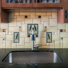 Songbirds Galley Collage Kitchen This fireplace is the quintessential Arts & Crafts lover's dream. Originally a brick fireplace, our designer created a showstopper for the living room. Craftsman Tile, Craftsman Kitchen, Kitchen Design, Kitchen Decor, Kitchen Ideas, Decorating Kitchen, Cheap Kitchen, Kitchen Art, Bungalow Kitchen