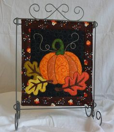 Autumn Night, October Monthly Mini Quilt Pattern PATTERN is part of Autumn crafts Wall Hangings Autumn Night, October Monthly Mini Pattern This is a pattern to make an 11 x 13 quilted wall hangin - Mini Quilt Patterns, Applique Patterns, Applique Quilts, Quilting Patterns, Felt Applique, Quilting Ideas, Hanging Quilts, Quilted Wall Hangings, Applique Wall Hanging