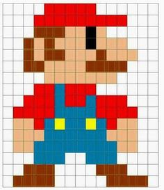 Mario pixel crochet blanket pattern — Good for a quilt, too, maybe. Pixel Crochet Blanket, Crochet Blanket Patterns, Cross Stitch Patterns, Kandi Patterns, Perler Patterns, Beading Patterns, Bracelet Patterns, Perler Beads, Fuse Beads