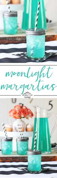 A fun twist on traditional margarita recipe - Moonlight margaritas. As delicious as they are pretty! A fun twist on traditional margarita recipe - Moonlight margaritas. As delicious as they are pretty! Party Drinks, Fun Drinks, Yummy Drinks, Margarita Party, Margarita Recipes, Drink Recipes, Healthy Recipes, Summer Cocktails, Cocktail Drinks