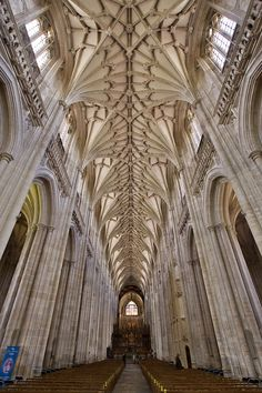 The Nave of Winchester Cathedral, Hampshire, England, which is the longest Nave of any Gothic cathedral in Europe