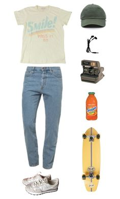 """""""contageous smiles"""" by origami-kitten ❤ liked on Polyvore featuring American Apparel, NIKE, Polaroid and Element"""