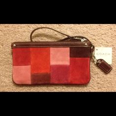"""SALE! NWT Coach Muliticolored Berry Suede Wristlet SALE!!! NWT Coach Muliticolored Berry Suede Patchwork Wristlet.  Measures approx 7"""" in length & 4"""" in height Coach Bags"""