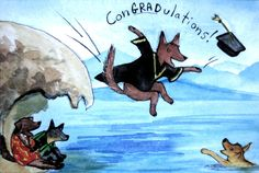 Graduation!!!-Congratulations!-Dogs-Celebration-Dogs Jumping-Water-Ocean-Watercolour Grad Card-Graduation Card-Whimsical Graduation Card- by EmmysAnimals on Etsy