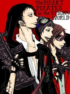 Heart Pirates - Trafalgar D. Water Law, Bepo, Penguin, and Shachi One Piece art red