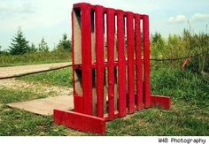 Red pallet screen or wall or fence panel