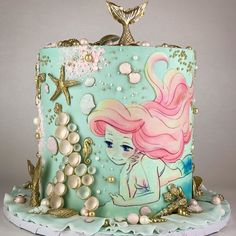 [New] The 10 Best Dessert Ideas Today (with Pictures) - Beautiful Little Mermaid inspired cake design! Girly Cakes, Cute Cakes, Little Mermaid Cakes, The Little Mermaid, Princesse Party, Bolo Fack, Sea Cakes, Cake Blog, Character Cakes