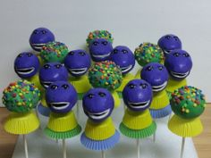 My First Barney Cake Pops!
