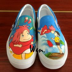 Wen Hand Painted Shoes Custom Design Anime Ponyo Men Women's Slip On Canvas Shoes Christmas Birthday Gifts