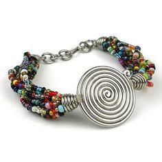 Single Spiral 'Progress' Multicolor Beaded Bracelet - Zakali Creations