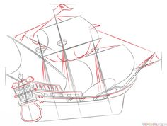 How to draw a pirate ship step by step. Drawing tutorials for kids and beginners.
