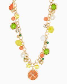 charming charlie | Long Citrus Charm Necklace | UPC: 410007576420 #charmingcharlie
