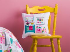 Perfect colours love the sunshine yellow chair too, Tea Time quilt and cushions from #KASKids https://www.kasaustralia.com.au/content/bedroom-kids/quilt-sets/tea-time-quilt-set