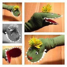 The story of the little green monster - or - I was a tennis sock - basteln dekoration ideas Hand Crafts For Kids, Creative Activities For Kids, Creative Arts And Crafts, Diy For Kids, Diy And Crafts, Sock Puppets, Hand Puppets, Finger Puppets, Puppet Crafts