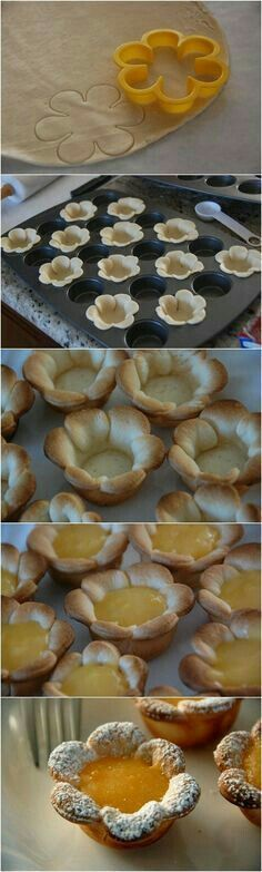 Flower shaped Mini Lemon Curd Tarts are perfect for a Bridal or Baby shower! - Flower shaped Mini Lemon Curd Tarts are perfect for a Bridal or Baby shower! Just Desserts, Delicious Desserts, Dessert Recipes, Yummy Food, Mini Desserts, Dessert Cups, Baking Desserts, Plated Desserts, Finger Desserts