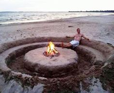 This is the BEST DIY I've seen yet! A DIY bon fire pit with seating carved into the sand. LOL NOW this is how you do a bon fire at the beach lol The Beach, Beach Bum, Beach Trip, Beach Camping, Sand Beach, Beach Relax, Backyard Beach, Glass Beach, Pismo Beach