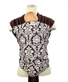 Espresso Damask Baby Wrap Carrier