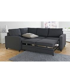 Backabro sofa bed with chaise longue nordvalla dark grey for Argos chaise longue sofa bed