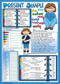 Presente Simple tense Plus English Teaching Materials, Teaching English Grammar, English Grammar Worksheets, Grammar Lessons, English Vocabulary, English Class, English Lessons, Learn English, English English